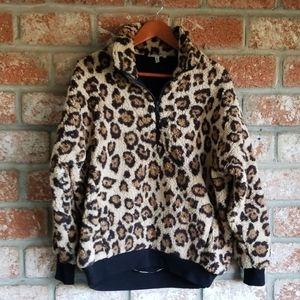 Express one Eleven leopard sherpa quarter zip